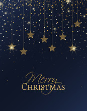 Vector Illustration Of Stars. Merry Christmas Card With Golden Stars. Gold Decoration On A Blue Background. Night Sky.
