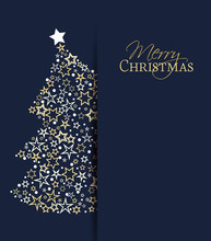 Vector Illustration Of A Christmas Background. Christmas Tree Made Of Stars. Happy Christmas Greeting Card.