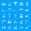Lifting machine equipment icons set. Simple illustration of 25 lifting machine equipment cargo vector icons for web