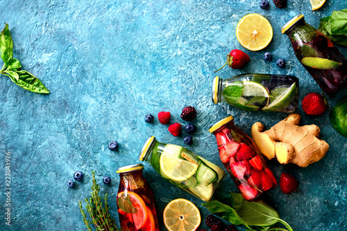 Various kind of detox spa infused water Wallpaper Mural