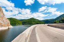 Vidraru Artificial Lake And Dam On Arges River In Transylvania