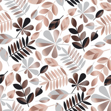 Gray And Rose Gold Geometric Fall Leaves Seamless Pattern