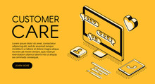 Customer Care And Online Service Vector Illustration. Call Center Assistant Or Business Company Manager Help Chat In Computer And Smartphone In Isometric Black Thin Line On Yellow Halftone Design