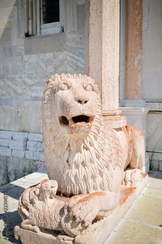 Deurstickers Historisch mon. Marble lion of the protiro of the Duomo of Ancona
