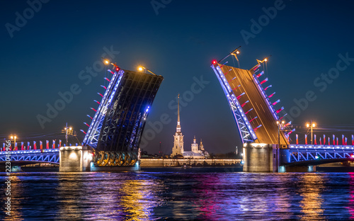 Foto Divorced Palace Bridge in front of Peter and Paul fortress
