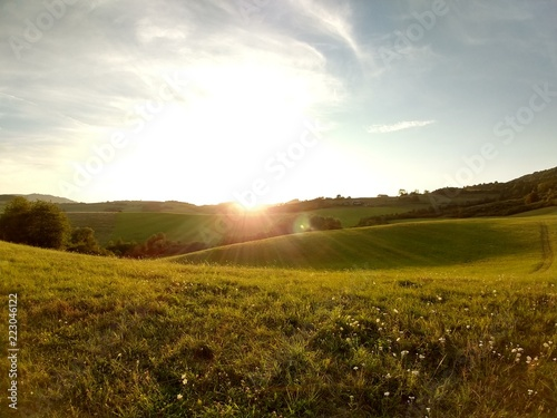 Fotobehang Wit Sunrise and sunset over the hills and town. Slovakia