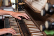 canvas print picture - Person plays church organ - detail
