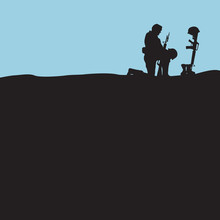 Fallen Soldier Silhouette With Helmet Boots And Rifle