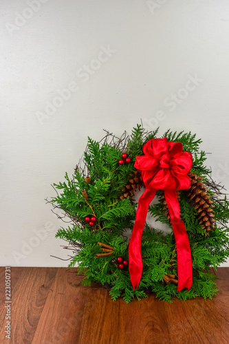 Fotografie, Obraz  A decorated wreath for Christmas
