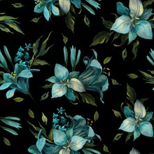 Seamless Pattern Of Blue Diffe...