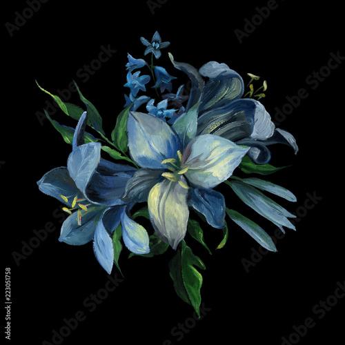 bukiet-blekitni-rozni-kwiaty-i-liscie-na-zmroku-blekitny-tlo-dla-powitania