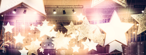 Fotografie, Obraz Stars spotlights soffits as finest hour celebrity show stage performance backgro