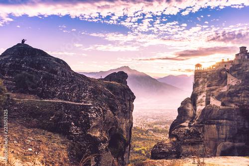 Tuinposter Historisch geb. Sunset over Varlaam monastery in Meteora, Greece