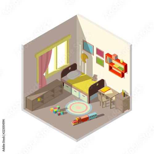 Vector 3d isometric childrens bedroom interior cross section ...