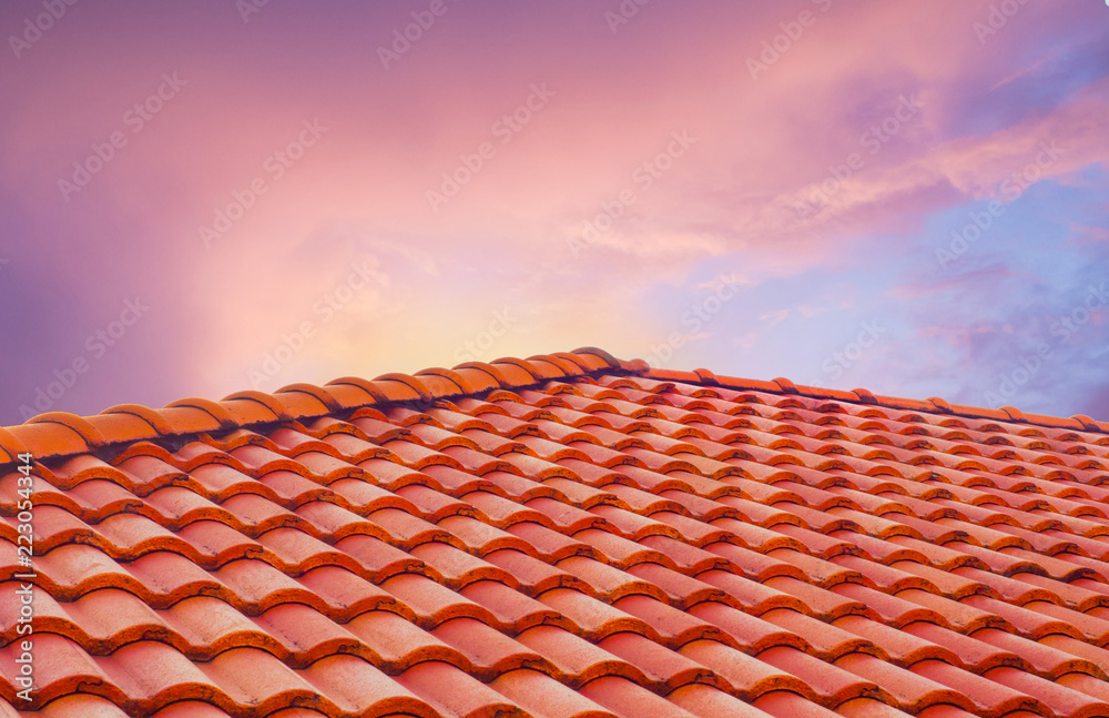 Fototapety, obrazy: roof tiles and sky sunlight