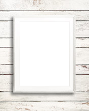Blank White Picture Frame On W...