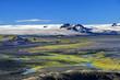 Panorama auf Gletscher und Vulkanwüste im Hochland, Island