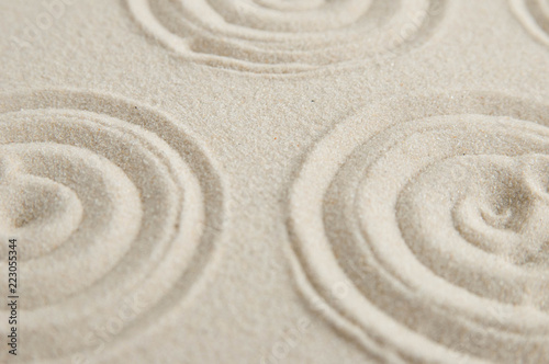 Deurstickers Stenen in het Zand Zen drawing on white sand. Concept of harmony, balance and meditation, spa, massage, relax