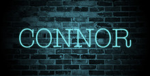 First Name Connor In Blue Neon On Brick Wall