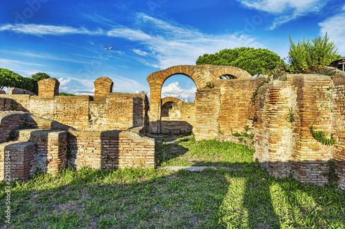 Foto op Aluminium Rudnes Archaeological Roman empire street view in Ancient Ostia - Rome - Italy