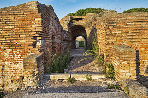 Poster Rudnes Archaeological Roman empire street view in Ostia Antica - Rome - Italy