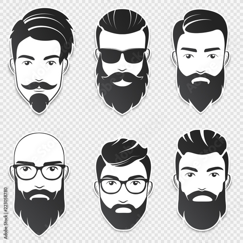 Canvas Set of vector bearded hipster men faces with different haircuts, mustaches, beards