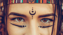 Native American Girl Eyes Close Up, Young Attractive Woman Warrior Looks At Camera