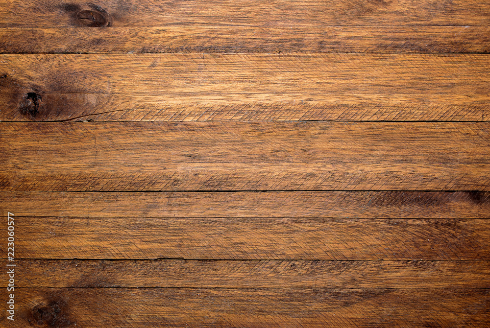 Fototapety, obrazy: Brown wood table background, lots of contrast, wooden texture