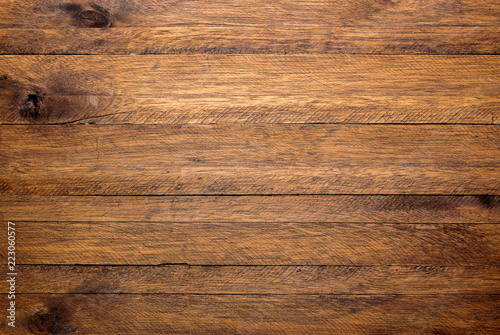 Brown wood table background, lots of contrast, wooden texture - 223060577