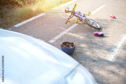 car accident with a kid bike