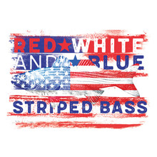 American Flag Red White And Blue Striped Bass USA United States Flag Fish Bass Fishing Freedom 4th Of July Fourth Of July Patriotic Independence Day