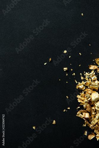 Fotografie, Tablou  Gold Flakes on Black