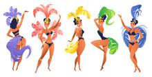 Set Of Brazilian Samba Dancers...