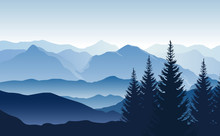 Vector Blue Landscape With Silhouettes Of Misty Mountains And Hills And Trees
