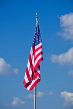 American Flag In Wind Free Position - Populism And False Pride - Nationalism, Patriot, Patriotism - False Symbolism.