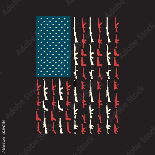 Photo USA American Flag United States Made of Guns and Rifles in Place of stars and st