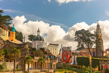 Popular Tourist Resort Of Portmeirion With It's Italian Village Style Architecture In Gwynedd, North Wales.