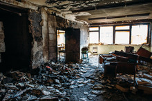 Burnt House Interior. Burned R...