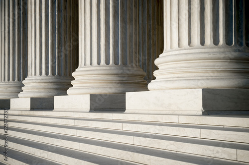 Valokuva Abstract view of neoclassical fluted columns, bases and steps of the US Supreme