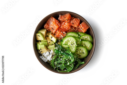 Photo  poke bowl with fresh salmon
