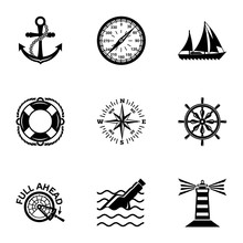 Waterway Icons Set. Simple Set Of 9 Waterway Vector Icons For Web Isolated On White Background