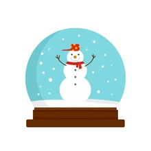 Snowman Glass Ball Icon. Flat ...