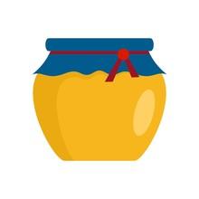 Glass Jar Of Honey Icon. Flat Illustration Of Glass Jar Of Honey Vector Icon For Web Design