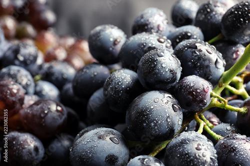 Fotografija Bunch of fresh ripe juicy grapes as background. Closeup view