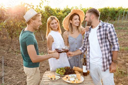 Keuken foto achterwand Friends tasting wine and having fun on vineyard picnic
