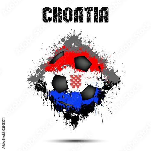 Papiers peints Visage de femme Soccer ball in the color of Croatia