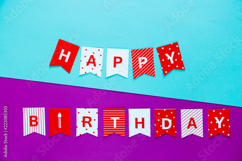 Photo  title Happy birthday on bright colorful background