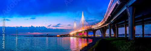 Photo Stands Dark blue Panorama of Petersburg. Bridges of St. Petersburg. The Gulf of Finland. High-speed western diameter. Petersburg District Road. Street of St. Petersburg. Russia. Panorama of the cities of Russia.