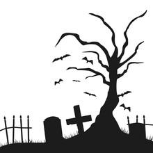 Tree Grave Halloween Silhouette