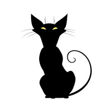 Silhouette Of Black Cat With Yellow Eyes.